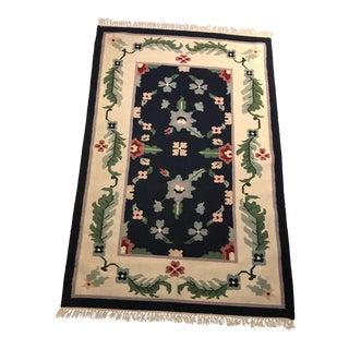 Wool Dhurrie Floral Pattern Rug - 4' x 6'