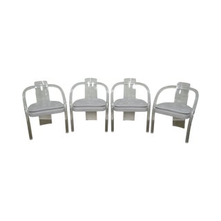 Mid Century Set of 4 Lucite Dining Arm Chairs by Hill For Sale