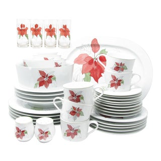 Vintage Block Poinsettia Dinnerware Set Designed by Mary Lou Goertzen - 39 Pieces For Sale