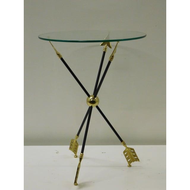 Maison Jansen Vintage Iron & Brass Arrow Bouillotte Drinks Lamp Table For Sale - Image 4 of 8