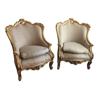Antique Burlap Rococo Bergere Chairs - a Pair