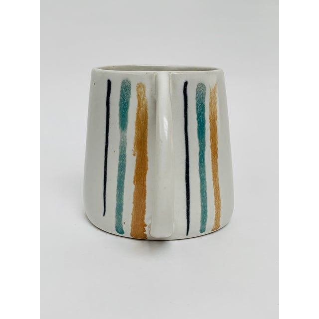 David Gil 1960s Mid Century Modern Striped Oval Stoneware Mug From Bennington Potters For Sale - Image 4 of 13