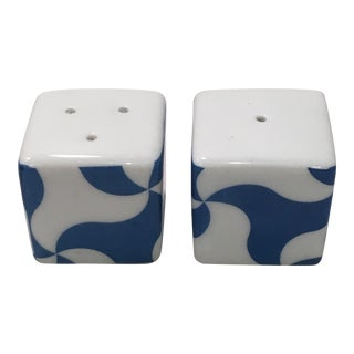 Retro Memphis Style Cube Salt & Pepper Shakers For Sale