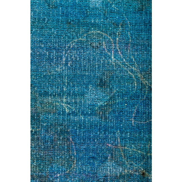 Contemporary Overdyed Hand-Knotted Blue Rug- 8′2″ × 9′10″ For Sale - Image 3 of 4