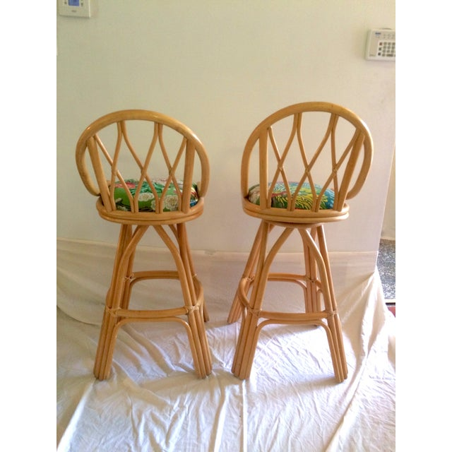 Bamboo Swivel Bar Stools - A Pair - Image 7 of 7