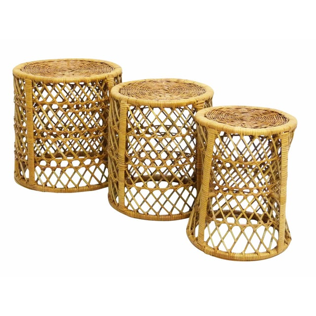 Vintage Bamboo & Rattan Stacking Tables - Set of 3 For Sale In New York - Image 6 of 6