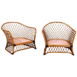 Sculptural Restored Pair of Large-Scale Lattice Club Chairs, Circa 1990 For Sale