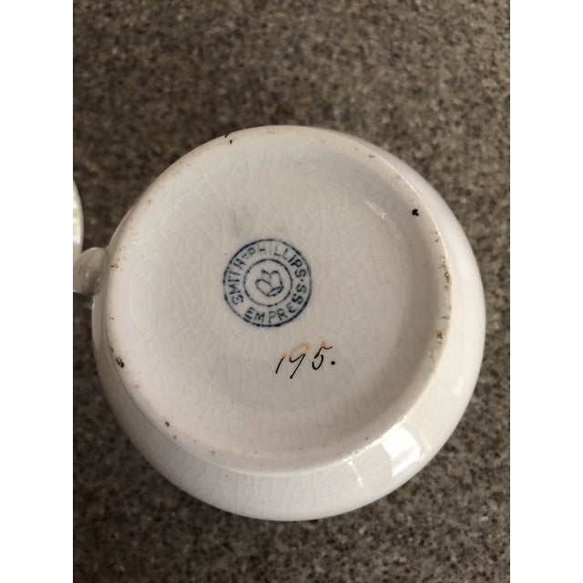 Traditional Antique Ironstone and Semi Porcelain Smith Phillips East Liverpool Ohio Empress Line Chamber Bathing Set of 10 For Sale - Image 3 of 9