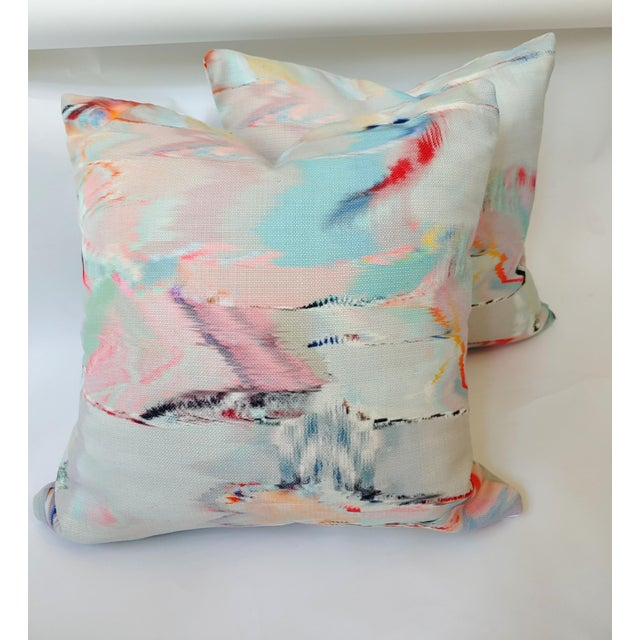 Abstract Watercolor Pillow Covers a - a Pair For Sale - Image 3 of 4