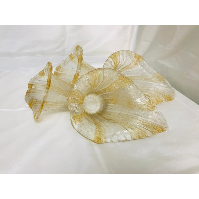 Vintage Textured Art Glass Calla Lilly Glass Shades - Set of 4 For Sale - Image 9 of 9