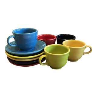 1940s Fiesta Cups and Saucers - Service for 5 For Sale