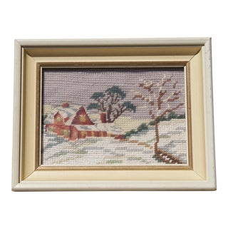 Vintage Needle Point Winter Landscape For Sale