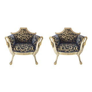 Vintage Italian Carved Wood and Cut Velvet Chairs Pair For Sale