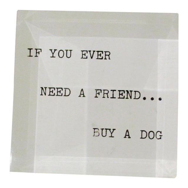 'If You Ever Need a Friend...' Lucite Paperweight 1970s Mid Century Modern - Image 1 of 7