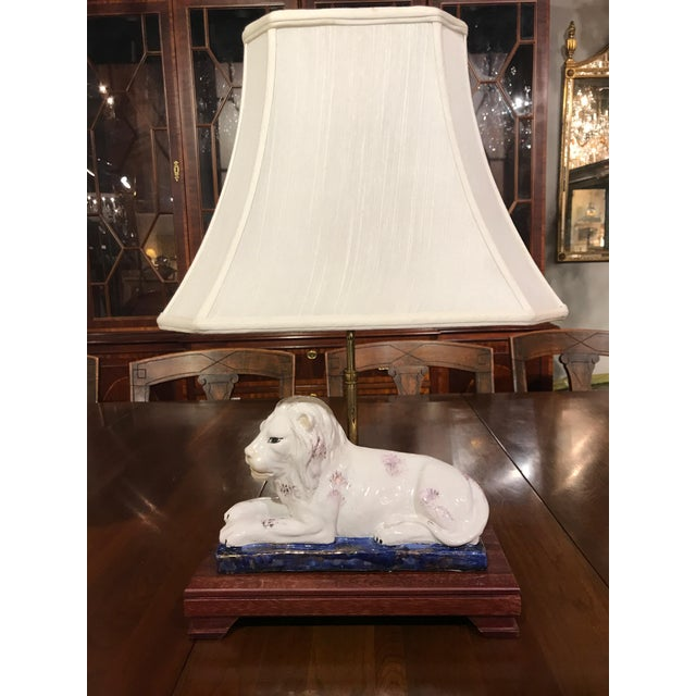 Ceramic Lion and Tiger Lamps - A Pair - Image 6 of 8