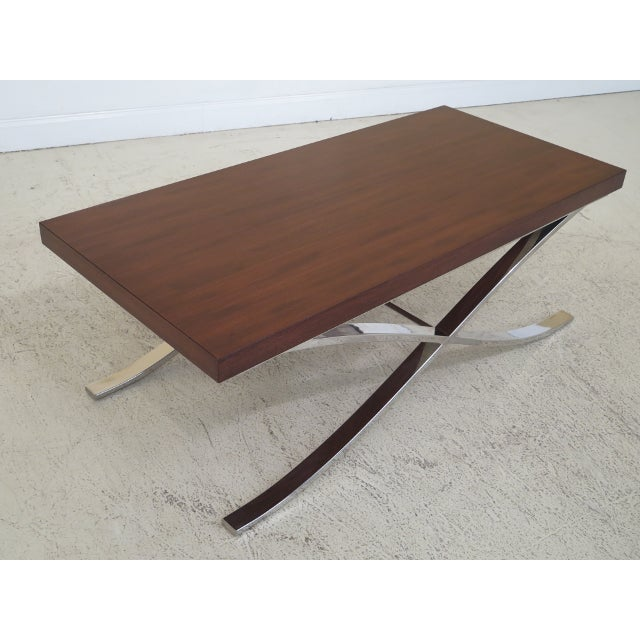 Mid Century Modern Chrome Base Coffee Table For Sale - Image 4 of 9