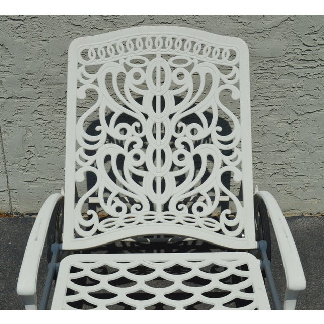 White Quality Pair Cast Aluminum Patio Chaise Lounges For Sale - Image 8 of 13