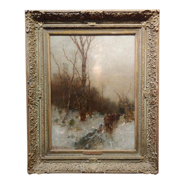 Desiree Thomassin -Hunters in a Winter Wooded Landscape -19th Century Oil Painting For Sale
