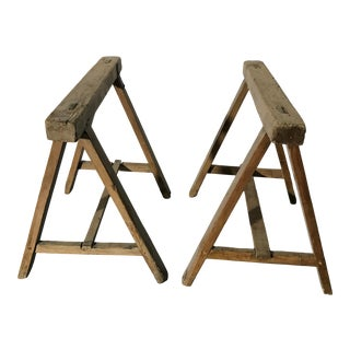 20th Century Rustic Wood Trestles for Desk or Table - a Pair For Sale
