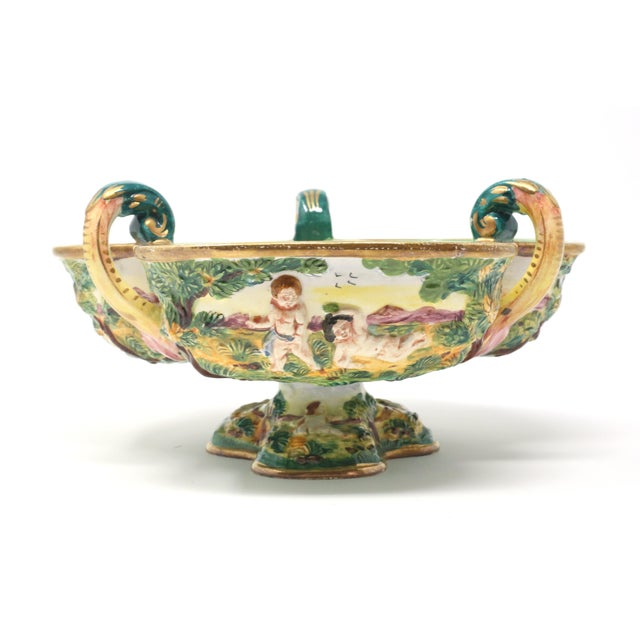 Vintage Italian Capodimonte Clover-Shaped Footed Bowl For Sale - Image 9 of 13