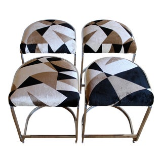 DIA Mid-Century Cantilevered Chrome Bar Stools in Abstract Vintage Velvet - Set of 4