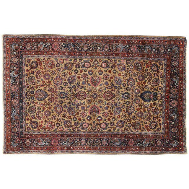 Persian Mashhad Rug With Traditional Style - 6′9″ × 10′4″ For Sale - Image 4 of 5
