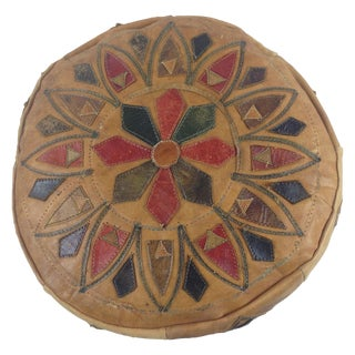 Vintage Distressed Moroccan Colorful Leather Pouf