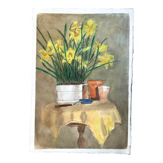 Daffodil Planting Flowerpot Still Life Watercolor Painting For Sale