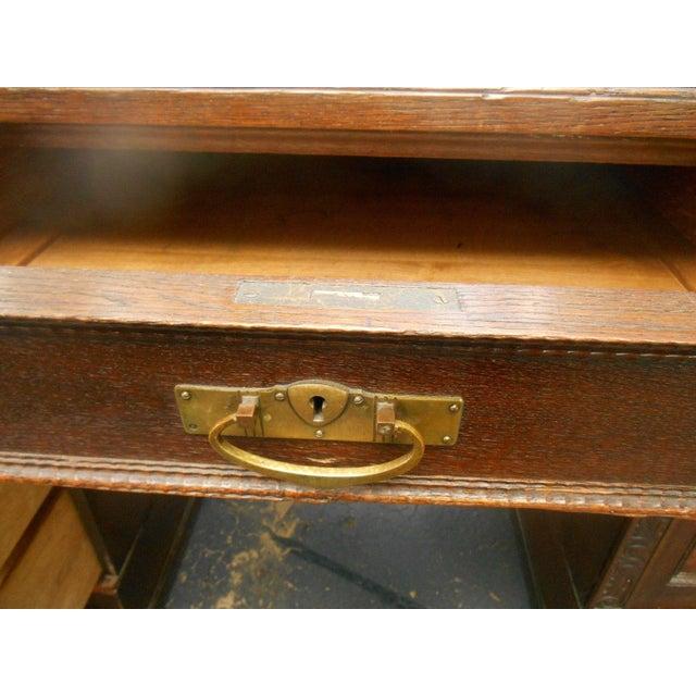 19th-C. Governor Winthrop Tiger Oak Desk - Image 8 of 9