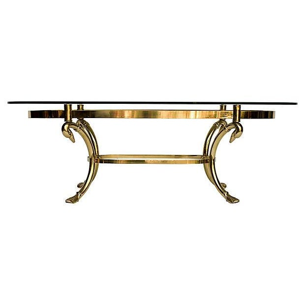 Brass & Glass Swan Coffee Table - Image 2 of 9