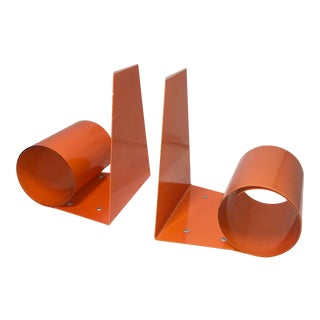 Vintage 1960s Modernist Orange Coiled Steel Bookworm Bookends- a Pair For Sale