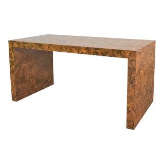 Modern Waterfall Parsons Table Desk in Faux Tortoise Shell Laminate Style Karl Springer For Sale