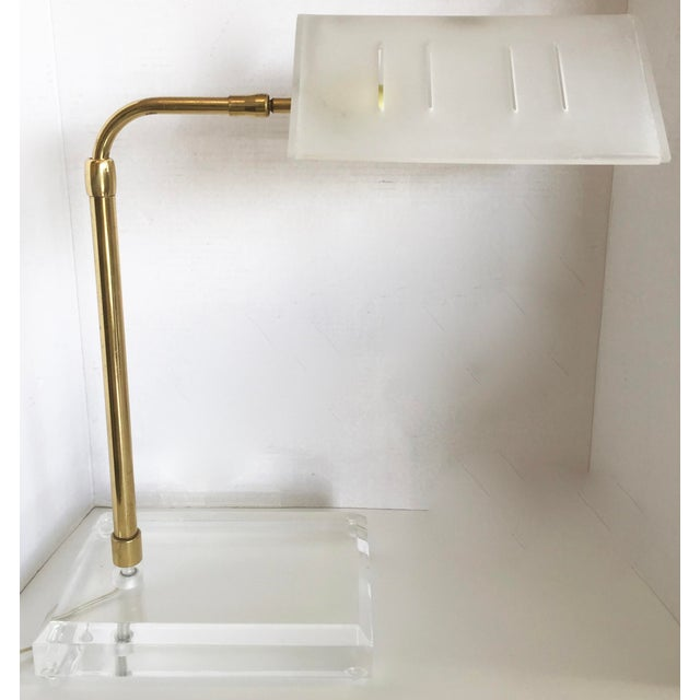 Bauer Lucite & Brass Desk Lamp - Image 2 of 9