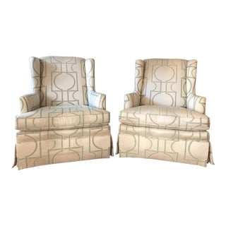 Sherrill Furniture Swivel Rocker Wing Loungers- a Pair For Sale
