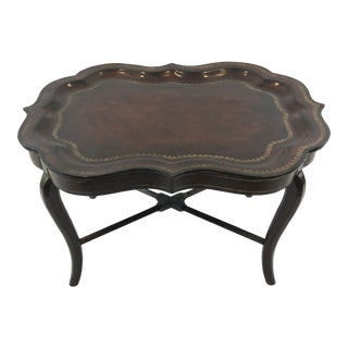Traditional Maitland Smith Leather Wrapped Tray Coffee Table For Sale