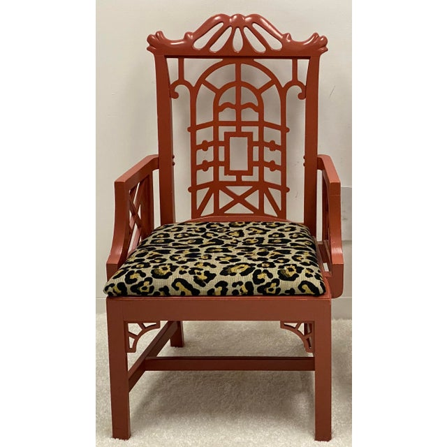 American of Martinsville Mid 20th Century Chinoiserie Pagoda Arm Chairs in Leopard - a Pair For Sale - Image 4 of 7