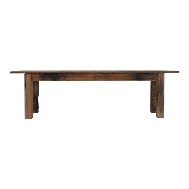 Antique French Industrial Work Table or Rustic Farm Dining Table, Circa 1900 For Sale