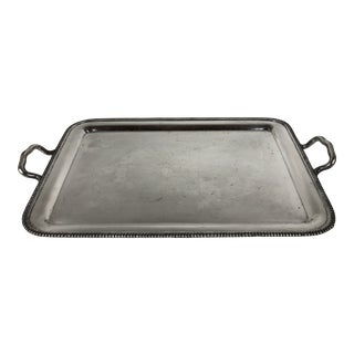 Large Silver Plated Tray With Handles For Sale
