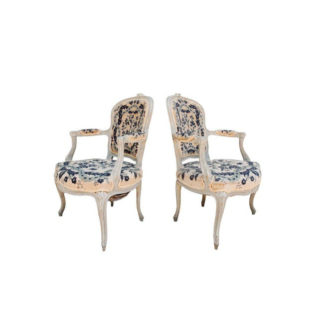 French Pair of French Petit Point Fauteuils For Sale - Image 3 of 3