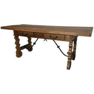 18th Century Baroque Farm Refectory Desk Table With Two Drawers & Stretchers For Sale