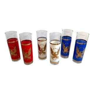 Vintage Americana Design Gold Trim Tom Collins Tumblers - Set of 6 For Sale
