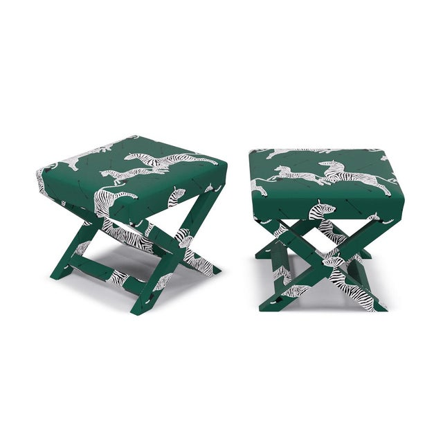 Contemporary Scalamandre X Bench in Emerald Zebra For Sale - Image 3 of 5