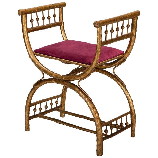 Gilt Wood Egyptian Style Stool With Velvet Seat - Image 1 of 5