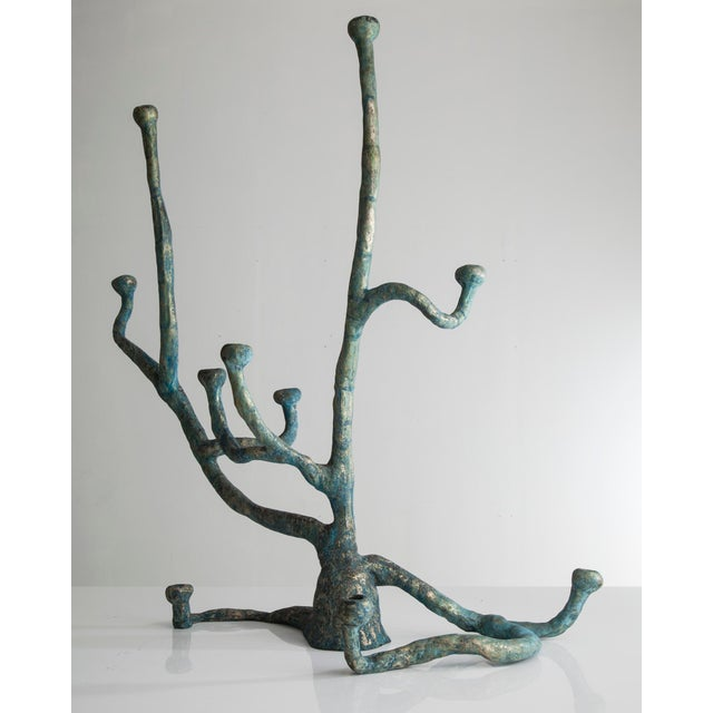 Extra large Elephant Skin candelabra in cast bronze with blue patina. Edition of 3 plus 2 APs. Designed and made by The...