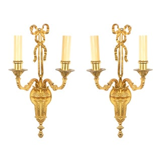 French Louis XVI Style Bronze Dore Wall Sconces For Sale