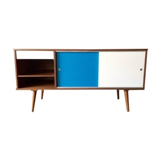 Mid-Century Style Custom Walnut Small Credenza For Sale