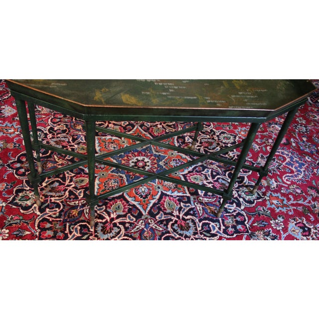 Italian Tole & Green Chinoiserie Coffee Table - Image 4 of 6