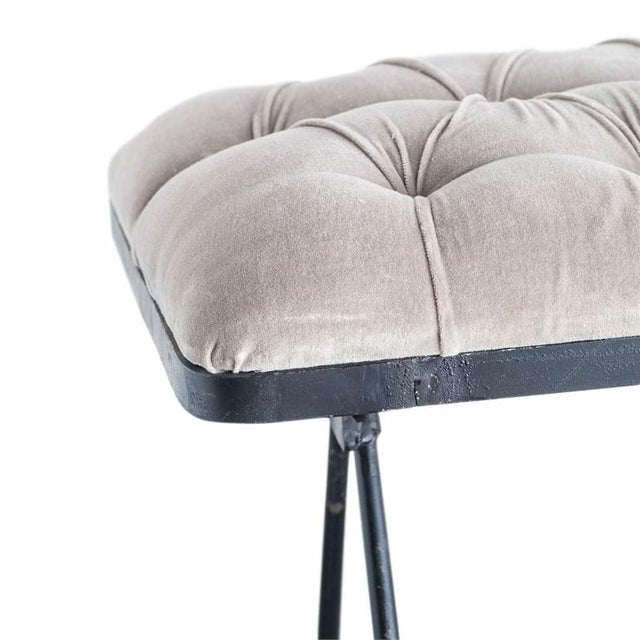 """A classic Metal & Velvet Fabric Upholstered Foldable Bench, Taupe colour. Width: 61"""" Depth: 17-1/2"""" Height: 17-1/2"""""""