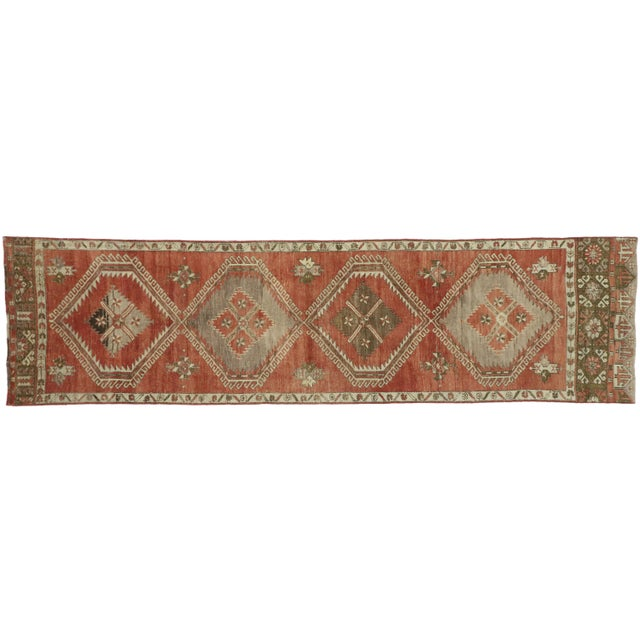 Vintage Turkish Oushak Runner - 3′6″ × 13′1″ For Sale - Image 9 of 10