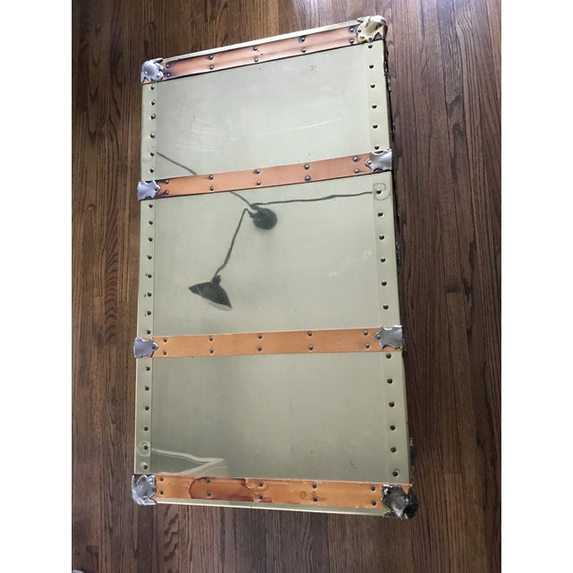 Campaign Vintage Brass Trunk With Leather Strapping For Sale - Image 3 of 10